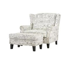 Home Decorators Collection Zoey Script White Polyester Arm Chair and Ottoman-1601200480 - The Home Depot