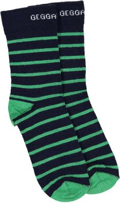33bdcb744dd Striped wool socks by Geggamoja. Generously sized. Wool sock in navy blue  and green. Biddle and Bop
