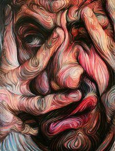 Oil Pastel Portrait by Nikos Gyftakis