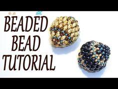Beaded bead tutorial - How to make a beaded bead - Miniduo beaded bead tutorial - Beading tutorial - YouTube