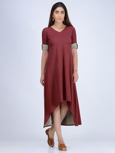 Buy Maroon Natural Dyed Hand Woven Cotton Dress with Block Printed Trims Women Dresses Online at Jaypore.com