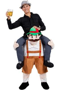 Carry Me Piggy Back Bavarian Beer Guy Mascot Fancy Dress Costume Party Character #CompleteOutfit