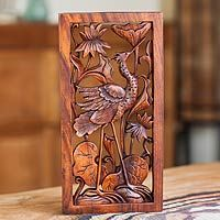 Wood relief panel, 'Stork with Lotus Blossoms' from @NOVICA, They help #artisans succeed worldwide.