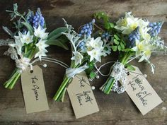 Blue Wedding Flowers I have pinned several bouquets that would be gorgeous alongside these dapper boutonnieres from The Blue Carrot - Wild By Nature - Make sure your groom stands out with one of these beautiful buttonholes Creative Wedding Favors, Wedding Favours, Wedding Bouquets, Flower Bouquets, Muscari Wedding Bouquet, Daffodil Bouquet, Wedding Reception, Party Favors, Decoration Design