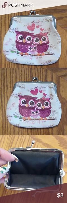 """Owl coin purse Owl coin purse.  Faux leather.  Design on both sides.  Lined.  5""""W x 4.5""""H. NWOT Bags Mini Bags"""