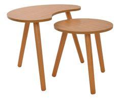 Set di 2 tavolini in legno di betulla Alex naturale