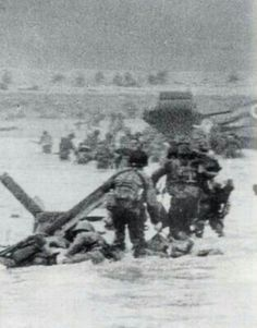 D Day coming ashore into hell.