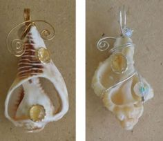 Conch is among the most identified shells and is often used in jewelry making. But the lowly egg-shaped cowry shell also looks lovely when made into jewelry. Seashell Jewelry, Seashell Crafts, Sea Glass Jewelry, I Love Jewelry, Jewelry Making, Wire Wrapped Jewelry, Wire Jewelry, Jewelry Art, Wire Wrapped Pendant