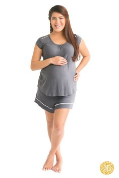 Once you feel the softness of the Kindred Bravely Amelia pajama set, you will reach for them time after time to get through your pregnancy or those long nights of nursing, working-from-home days, or stay-in-your-pj days! Pack them in your hospital bag. Perfect baby shower gift! Mothers, you will wear these all weekend long and never tire of them. The pull-down top is a cinch to nurse with. Made from ultra soft Modal that stays cool so you don't get too hot on warm nights!