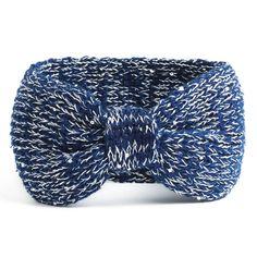 NISHAER Women's Chunky Knit Wide Headband Turban Styled Headwrap, Blue, One size at Amazon Women's Clothing store:
