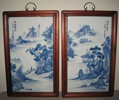 Pair Chinese Blue and White Tile Paintings