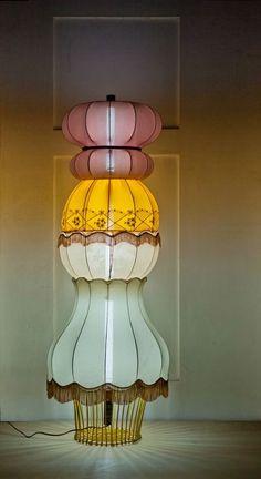 Floor lamp using old lamp shades