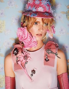Daria Strokous wears floral fashion looks for Harper's Bazaar Japan Magazine December 2015 issue Photoshoot