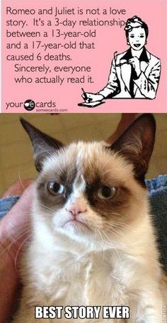 """""""Romeo and Juliet; 5 Stars"""" - Grumpy Cat"""
