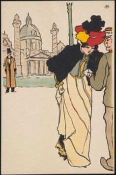 """""""Woman receiving a letter"""" (from the series Viennese Types) by Raphael Kirchner, 1876–1917"""