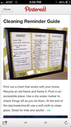 Chore List! I need one for me to!!!