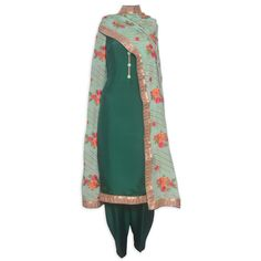 Stylish bottle green unstitched suit featuring in buttons and embroidered dupatta-Mohan's the chic window