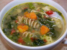 Soupe au poulet, rapinis et cœur de carottes