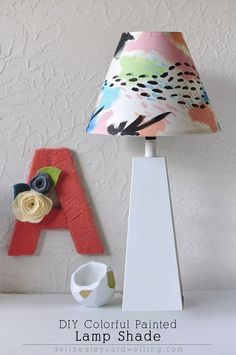 DIY Colorful Painted Lamp Shade Inspired by Land of Nod.  This was so easy to create and would look wonderful in any color! Delineateyourdwelling.com