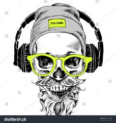 stock-vector-skull-with-beard-mustache-in-the-hipster-hat-and-headphones-glasses-vector-illustration-392477686.jpg 1,500×1,600 pixeles