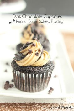 Dark Chocolate Cupcakes Peanut Butter Swirled Frosting. These moist cupcakes combine chocolate and creamy peanut butter for all the lovers.
