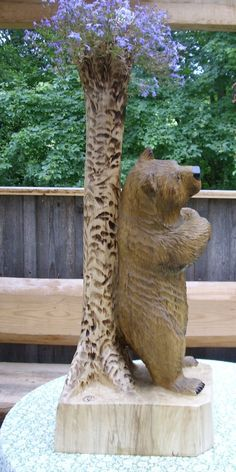 chainsaw carving the carving post wood carving illustrated contact me holz b ren schnitzen. Black Bedroom Furniture Sets. Home Design Ideas