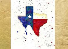 Texas Map - Texas Print from my original watercolor -blue red and white star - texas map