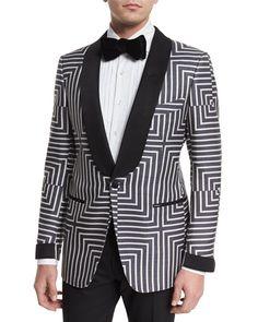 Buckley Base Geometric-Print Suit Jacket, Black/White