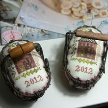 "pincushions in little baskets - ""A Stitcher's Journey""  by Blackbird Designs"