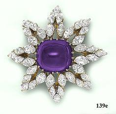 Sugarloaf-cut Siberian amethyst, marquise-cut  diamond, gold and platinum sunburst brooch