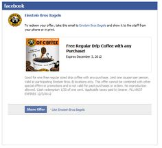 Einstein Bros Bagels Coupon Promo Code From The Coupons App Free Coffee With Any Order At August