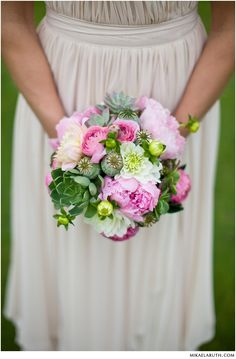 Gorgeous pink peony and succulent wedding Bouquet by Confetti Floral Design. Photo by Mikaela Ruth Photography.    http://www.weddingwire.com/biz/confetti-floral-design-abbotsford/website/e1ba9ab370ff5db5.html