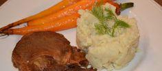 Venkelpuree met gekarameliseerde wortel en ribkarbonade