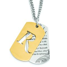 REMINGTON stainless steel 2nd Amendment double dog tag gold IP. Liberty Collection by Hunter's Jewels. Officially licensed product.