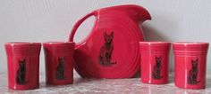 $65 Scarlet Red Fiesta Fiestaware Large Disc Pitcher 4 Tumblers Set w Black Cats | eBay