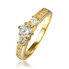 Elegant Jewelry for show plaqué Or Rose Bleu cubique zircon Bagues Taille 8