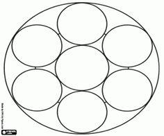 desenho de Mandala com oito círculos para colorir