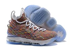 b90ec5dd1916 Mens Nike LeBron 15 Fruity Pebbles White Multi-Color 897648-900 Sneaker  Heels