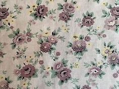 Vtg 50's Design Fabric Material French Floral Roses Cotton Linen Remnant Retro  | eBay