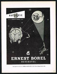 1955 Ernest Borel Datoptic Watch Ad