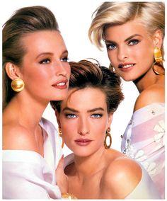 "robertocustodioart: "" Estelle Lefebure, Tatjana Patitz and Linda Evangelista for Revlon 1991 """