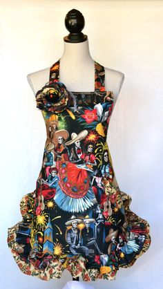 Retro Womens Apron Dia de los Muertos Skull Red by OliviabyDesign, $34.95 #halloween apron #sugar skull