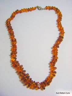 """Superb Vintage Honey colored with insects Baltic A grade Amber nugget necklace. Natural - Polished - graduated 18"""" with metal clasp. by AuntBettysCurio on Etsy"""