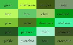 shades of green. Ingrid Sundberg, a writer and children's book illustrator, created a very useful infographic chart of color names. Green Colour Palette, Green Colors, All The Colors, Names Of Colors, Green Color Names, Color Palettes, Types Of Colours, Green Art, Pink Color