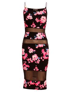 Neon Floral Print Mesh Detail Strappy Midi Dress in Black £ 9.95 #chiarafashion