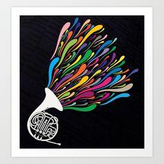 French Horn Art Print by Halamo Designs - $17.00