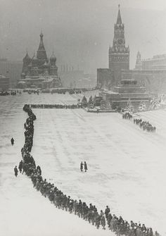 Vintage photo of Red Square and a long line to Lenin Mausoleum in Moscow, Russia (USSR) by Dmitry Baltermants