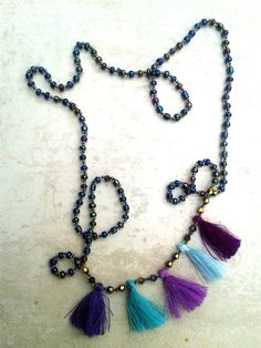 Purple tassel necklace, five tassels necklace, boho jewellery, bohemian necklace, festival fashion by InLoveByJussty on Etsy