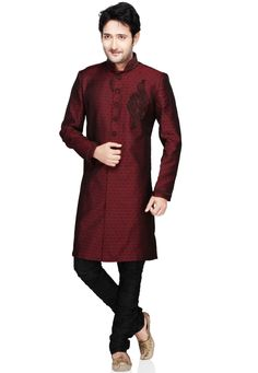 Buy Maroon Silk Jacquard Readymade Sherwani online, work: Embroidered, color: Maroon, usage: Party, category: Mens Wear, fabric: Silk, price: $161.60, item code: MJM246, gender: women, brand: Utsav