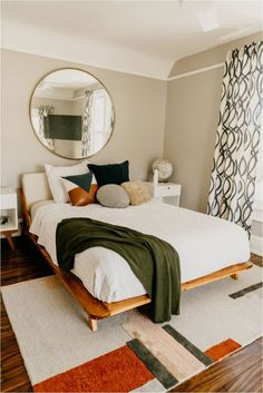 Mid-Century Modern Bedroom With A Geometric Rug